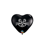 6 inch Cat Face on BLACK Heart, Price Per Bag of 100, Minimum Order 10 Bags