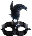 Black Mask with Feather