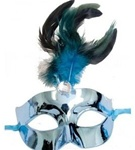 Turquoise Mask with Feather