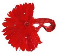 RED Feather Mask with Sequins