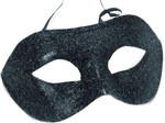 BLACK Glittered Half Mask with Black Trim