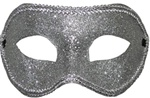 SILVER Glittered Half Mask with Silver Trim