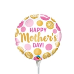 9 inch Mother's Day Pink & Gold Dots Foil Balloon