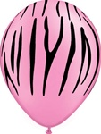 11 inch Zebra Stripes NEON PINK  with BLACK Print latex Balloon