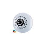 5 inch Qualatex Eyeball Top Print WHITE, Price Per Bag of 100