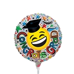 9 inch Congrats Grad Smiley Foil Balloon