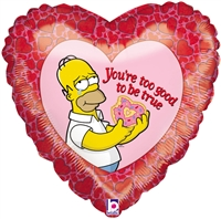 18 inch Simpsons You're Too Good too be True Holographic heart shaped foil balloon