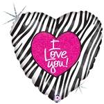 I LOVE YOU Zebra foil balloon