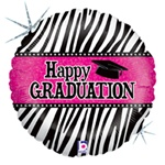 18 inch Graduation Zebra Stripes Foil Balloon