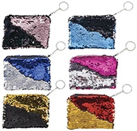 5 3/4in x 3 3/4in Mermaid Flip-Sequin Keychain Purse