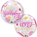 Birthday PINK & GOLD Dots Balloon