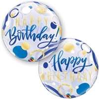 Birthday BLUE & GOLD Dots Balloon