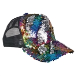 Rainbow Flip-Sequin on Black Mesh Hat