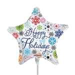 9 inch Happy Holidays Snowflakes On Clear