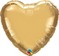 Qualatex Chrome Gold Heart Foil Balloon