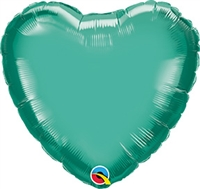 Qualatex Chrome Green Heart Foil Balloon
