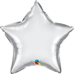Qualatex Chrome Silver Star Foil Balloon