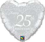 18 inch Happy 25th Anniversary Heart
