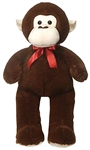 32 inch Brown Cuddle Monkey with Red Ribbon