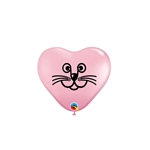 6 inch Qualatex Cat Face Heart PINK Balloons