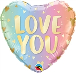 Love You Pastel Foil Balloon