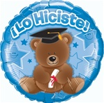 18 inch Lo Hiciste Bear Blue Foil Balloon