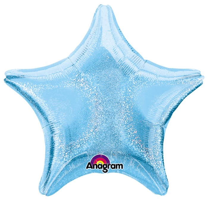 Pastel Light Blue Star Dazzler Holographicballoon