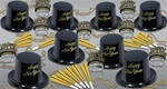 New Year's Eve Party Kit BLACK & GOLD Assortment for 50