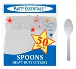 Plastic Spoon Medium Weight WHITE