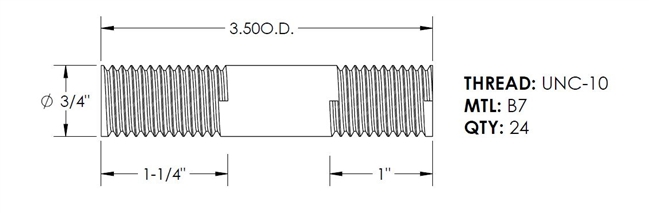 3//4-16 Thread Size 24 Length Right Hand Threads 316 Stainless Steel Fully Threaded Rod