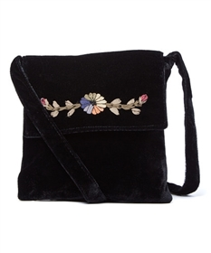 wholesale vintage purses embroidered velvet flap purse