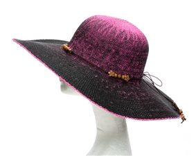 wholesale neon straw floppy sun hats ombre flower beads
