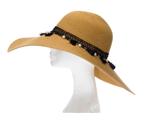 Wholesale Wide Brim Straw Sun Hat w/ Tassels & Pearls