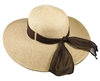 wholesale wide brim straw beach hat with ribbon - upf 50