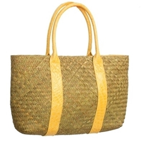 wholesale seagrass straw shoulder bag tote alligator trim