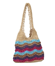 wholesale colorful straw crochet sling bag