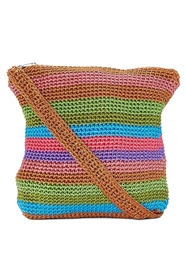 wholesale crochet purse  multi stripes