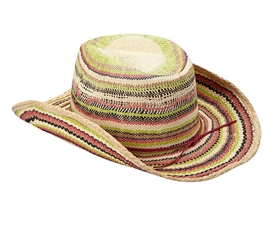 Wholesale Raffia Straw Cowboy Hats for Women - Rainbow Stripes