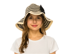 wholesale packable hats ribbon sun hat bow snap