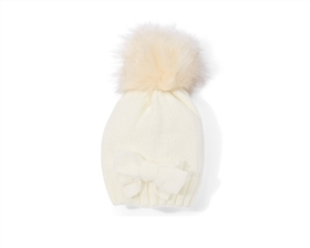Wholesale Kids Beanie Hats - Bow and Fur Pom