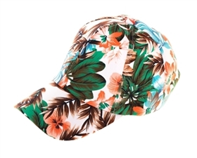 wholesale womens baseball cap - tropical print hat
