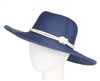 wholesale sun hats - women's packable sun hat in nautical colors rope knot band