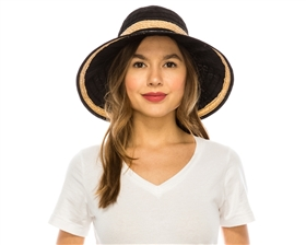 wholesale womens hats - packable crusher hat in black white with raffia trim
