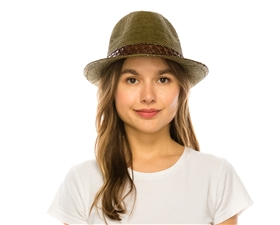 wholesale woven straw panama fedora for women