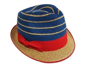 wholesale straw fedoras with stripes and bow
