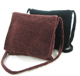 wholesale chenille crochet flap purse