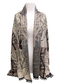 wholesale silk winter scarf - branches