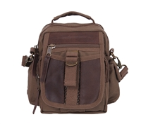 Rothco Brown Canvas and Leather Travel Shoulder Bag - 2815