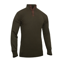 Rothco 3-Button Sweater With Suede Accents - 3804