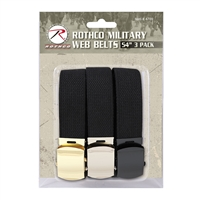 Rothco 4709 Black Military Web Belts 3 Pack